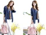 2012韩版女装新款豹纹围巾假两件套上衣