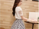 2014夏季新款韩版气质修身蕾丝短袖+清新印花小雏菊连衣裙