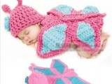 蝴蝶卡通动物款纯手工毛线帽 可爱男女款宝宝帽影楼拍照必备