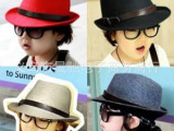厂家直销儿童帽子秋冬皮带扣法兰尼礼帽男童女童爵士帽亲子帽