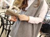 韩版新款休闲无袖宽松大码大V领毛衣 针织马夹毛线背心马甲女