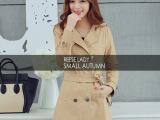 2014秋冬新款韩版女装外套纯色修身显瘦中长款大衣风衣女