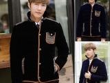 韩国模特 大牌设计 复杂皮革包条拼接男士个性棉衣棉服 一件代发