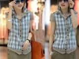 韩版2013夏装新款英伦风格子肩章拼接短袖衬衫