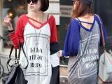 韩国春装新款长袖T恤女时尚潮款字母V领胖mm打底衫大码宽松T恤