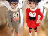 品牌儿童保暖套装 女童装韩版冬休闲儿童套装蝴蝶结加厚两件套
