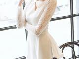 0104#2013韩版蕾丝长袖修身显瘦v领上衣中长款气质蕾丝衫批