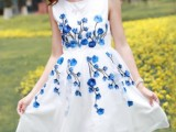 2014春款新款背心裙女装欧根纱重工刺绣桃花绣花连衣裙