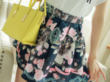 2015夏新款高初中学生赫本风印花复古半身裙百搭蓬蓬裙短裙女实拍