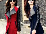 2014韩版秋装新款拼接撞色毛呢外套女秋冬中长款妮子大衣潮风衣