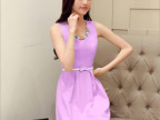 2014夏季新款韩版优雅淑女中长款修身显瘦无袖连衣裙女装(送项链
