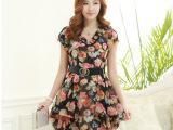 夏装 2014新款大码修身V领小碎花短袖连衣裙韩版中长款雪纺裙子
