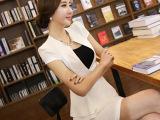 夏季短袖修身职业套裙足浴技师性感工作服无领荷叶边高档白领正装