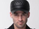 批发 新款高档中老年男士帽子冬天保暖防寒帽皮平顶帽加绒棉帽子