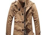 新款秋冬男式夹克商务休闲 中长版男士薄款立领修身夹克风衣批发