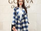 2014女装 秋冬新款廓形韩国毛呢外套 女 中长款呢大衣潮