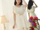 2015新款蝙蝠袖雪纺裙韩版夏装中长款纯色收腰大摆连衣裙