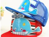 新款儿童网帽 卡通小鲨鱼拼色夏季太阳帽棒球帽 透气遮阳帽批发
