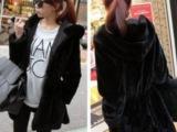 韩国代购棉衣 秋冬女装新款 两面穿毛毛加厚 连帽中长棉袄外套