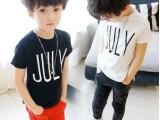 2014春夏新款韩版男童装明星同款JULY百搭纯棉儿童打底T恤圆