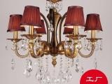 全铜水晶吊灯  全铜灯 欧式别墅 客厅餐厅全铜灯饰 灯饰生产厂家