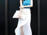 2014夏新款韩版蓝色无袖上衣+白色不规则开叉裙 套装女