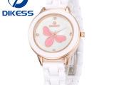 新款手表陶瓷表白色女表女士手表韩国情侣手表水钻防水正品