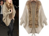 厂家直销欧美风大码女装毛领蝙蝠袖宽松毛衣外套好质量
