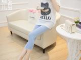 喜娜儿 日韩版新款夏季女装糖果色铅笔裤 薄款牛奶丝七分打底裤