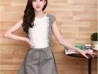 2014夏装新款韩版修身无袖蕾丝连衣裙拼接棉麻纯色