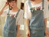 2014夏季新款韩版街头大口袋牛仔背带裙背后拉链包臀吊带裙短裙子