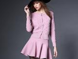 2015初春新款镶钻弹力针织时尚短裙套装 欧美风长袖开衫弹力短裙