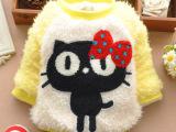 童装批发儿童珊瑚绒卡通毛毛衣t恤女宝宝加厚加绒韩版圆领上衣
