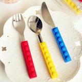 创意乐高硅胶积木不锈钢刀叉勺套装 儿童餐