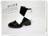 新款短靴2013秋款欧美马丁靴 拼色皮中跟粗跟女靴单靴 女鞋批发