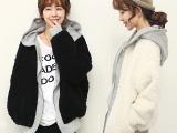 冬季新款韩版女装外套 双面可穿羊羔毛绒外套 韩国女士加厚外套