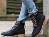 冬季大码马丁靴女加绒棉靴休闲女靴子英伦新