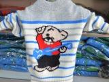 秋冬男女儿童羊绒衫灰色卡通套头加厚套衫针织衫毛衣条吉他小熊