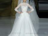 婚纱供应2016新款法国蕾丝手工花钉珠中袖A裙婚纱厂价直销