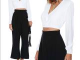 EBAY速卖通外贸女式白色低领口V领短款衬衫OL通勤衬衣