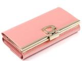 粉色漆皮女士钱包长款三折钱包真皮韩版钱包2014新款手拿包定制