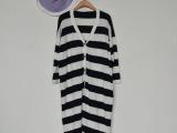 2014女装批发 外贸欧美范日韩条纹 大码宽松长款针织开衫 外套