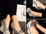 女鞋批发2015春季新款欧美潮流厚底防水台鱼嘴鞋真皮坡跟单鞋女