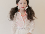 韩国代购进口女童刺绣防晒外套宝宝拉链衫蕾丝防晒衣