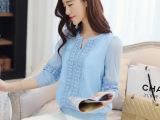 秋装新款女装小衫  韩版中袖蕾丝雪纺衫打底上衣