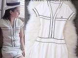 2014夏装新款欧美大牌明星同款短袖撞色修身连衣裙短裙