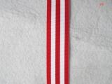 现货供应25MM宽环保涤纶材料红白双色条纹织带