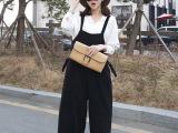 2015春夏新款女装韩国范时尚洋气背带阔腿裤九分裤连体裤女裤子