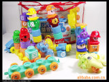 智力积木玩具102PCS  火车积木 公仔积木 早教幼儿玩具 益