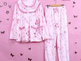 春秋加肥加大号睡衣家居服 纯棉女士长袖套装特大码睡衣 妈妈睡衣